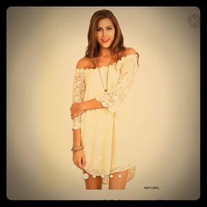 Umgee natural lace off shoulder tunic dress